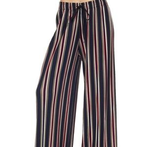 Multi Color Striped Pleated Palazzo Wide Leg Pants